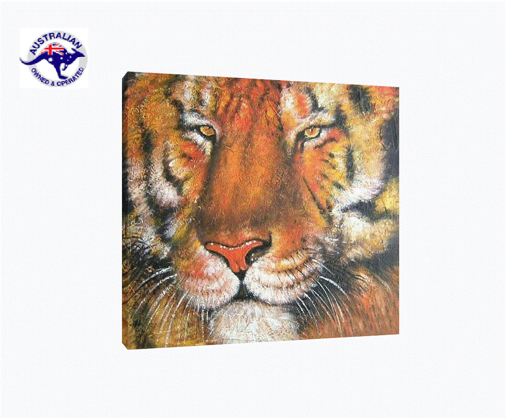 Wild animal oil painting on canvas tiger portrait framed for Animal oil paintings