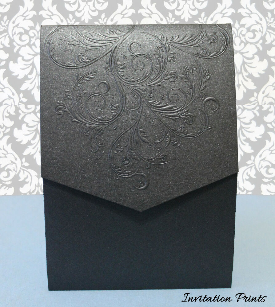 Wedding Invitation Folders With Pocket: Elegant Embossed Damask Metalic Black Pocket Folder