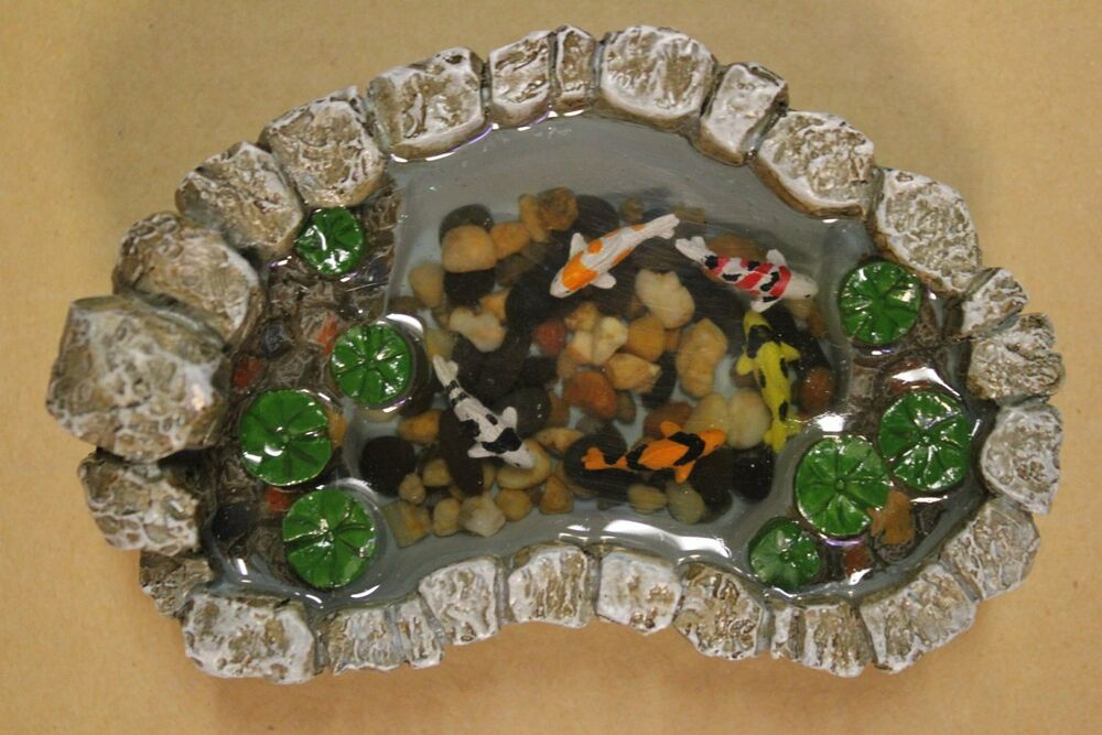 Mini miniature fairy garden doll house koi pond small for Koi supplies