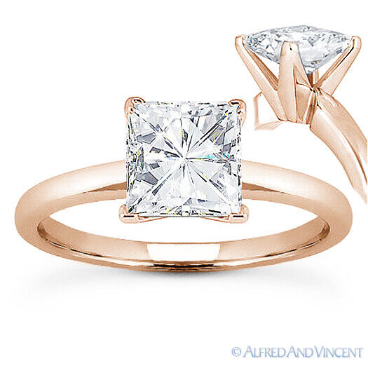 Square Cut Forever Brilliant Moissanite 14k Rose Gold Solitaire Engagement Ri