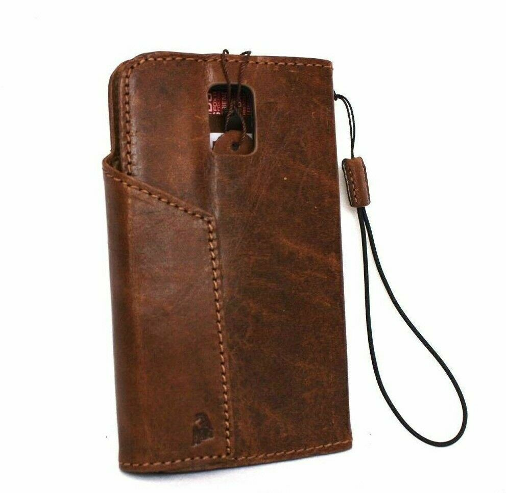 Book Cover Case : Genuine vintage leather case for samsung galaxy note