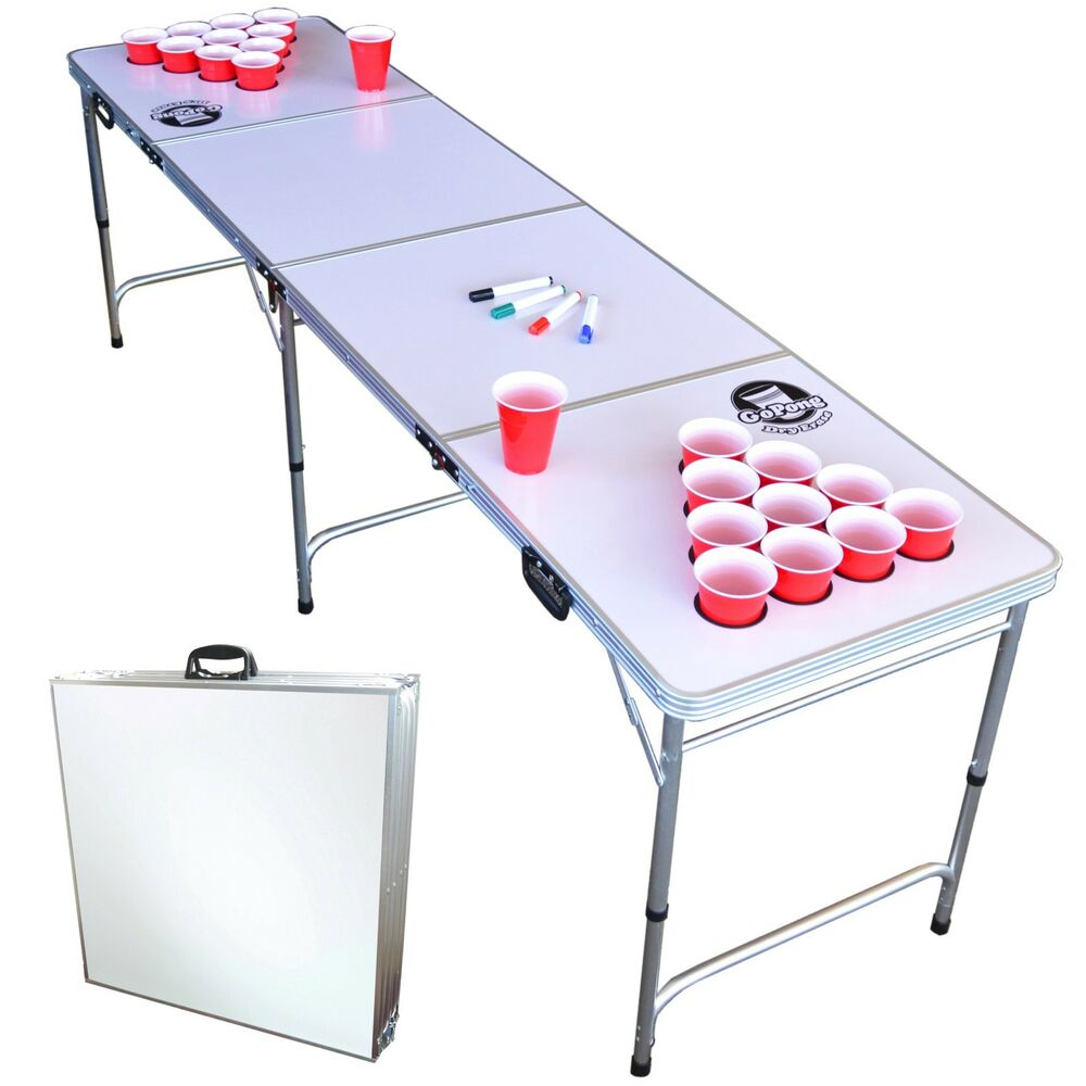 Beer pong table dimensions - Gopong 8ft Folding Beer Pong Table Customizable Dry Erase Whiteboard