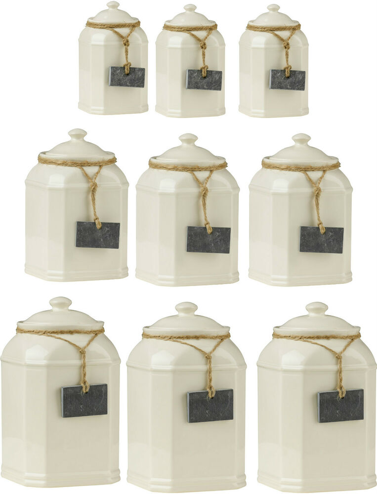 Storage jars tea coffee sugar canisters with slate tag - Coffee tea and sugar canisters ...