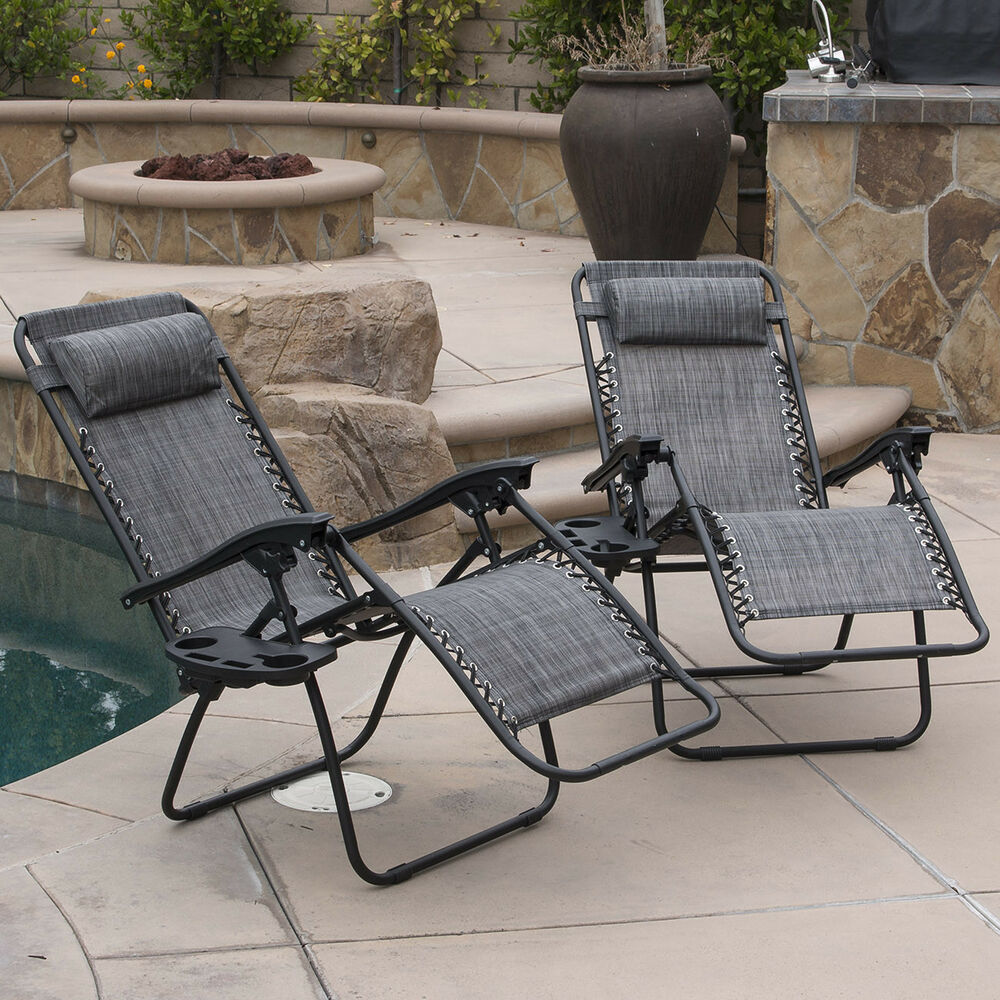 2 Lounge Chair Outdoor Zero Gravity Beach Patio Pool Yard Folding Recliner G