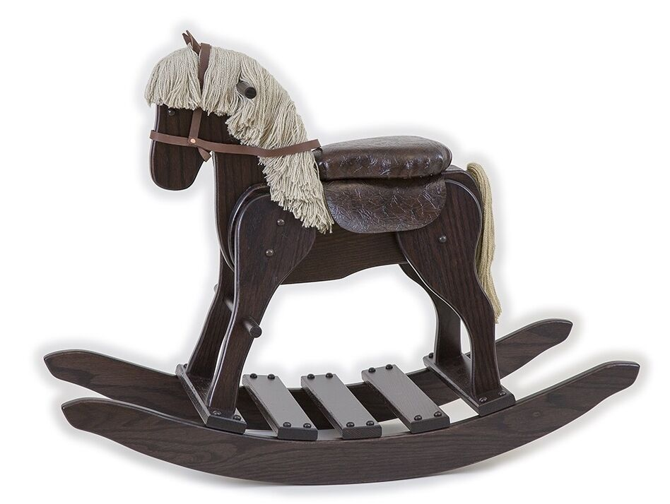 Wooden Rocking Horse ~ Wooden rocking horse w saddle handmade toddler nusery wood