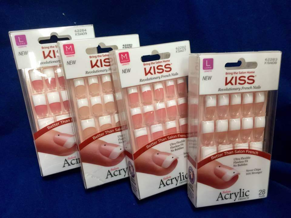 Kiss New York Salon Acrylic French 28 Nails Dry Spell