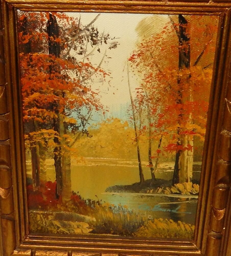 G bond river landscape original oil on canvas small for What is canvas painting
