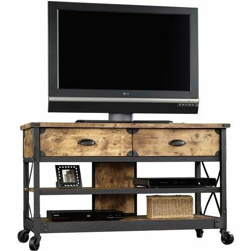 Tv Stand Rustic Table Console Media Cabinet Pine Metal Living Room Wood Den Ebay