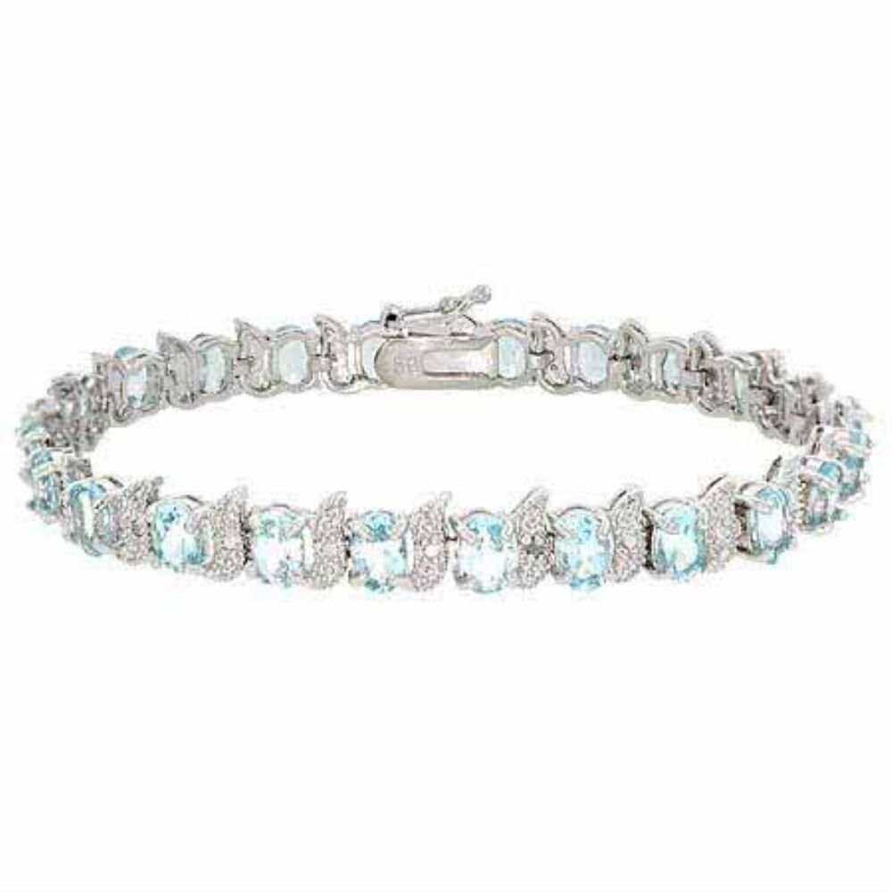 Sterling Silver Diamond Accent & Blue Topaz Bracelet