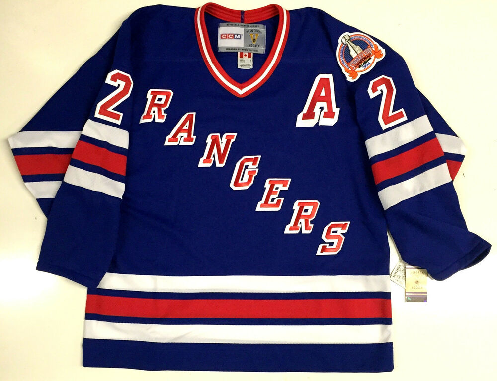Details about BRIAN LEETCH NEW YORK RANGERS CCM VINTAGE 1994 STANLEY CUP  BLUE JERSEY WITH