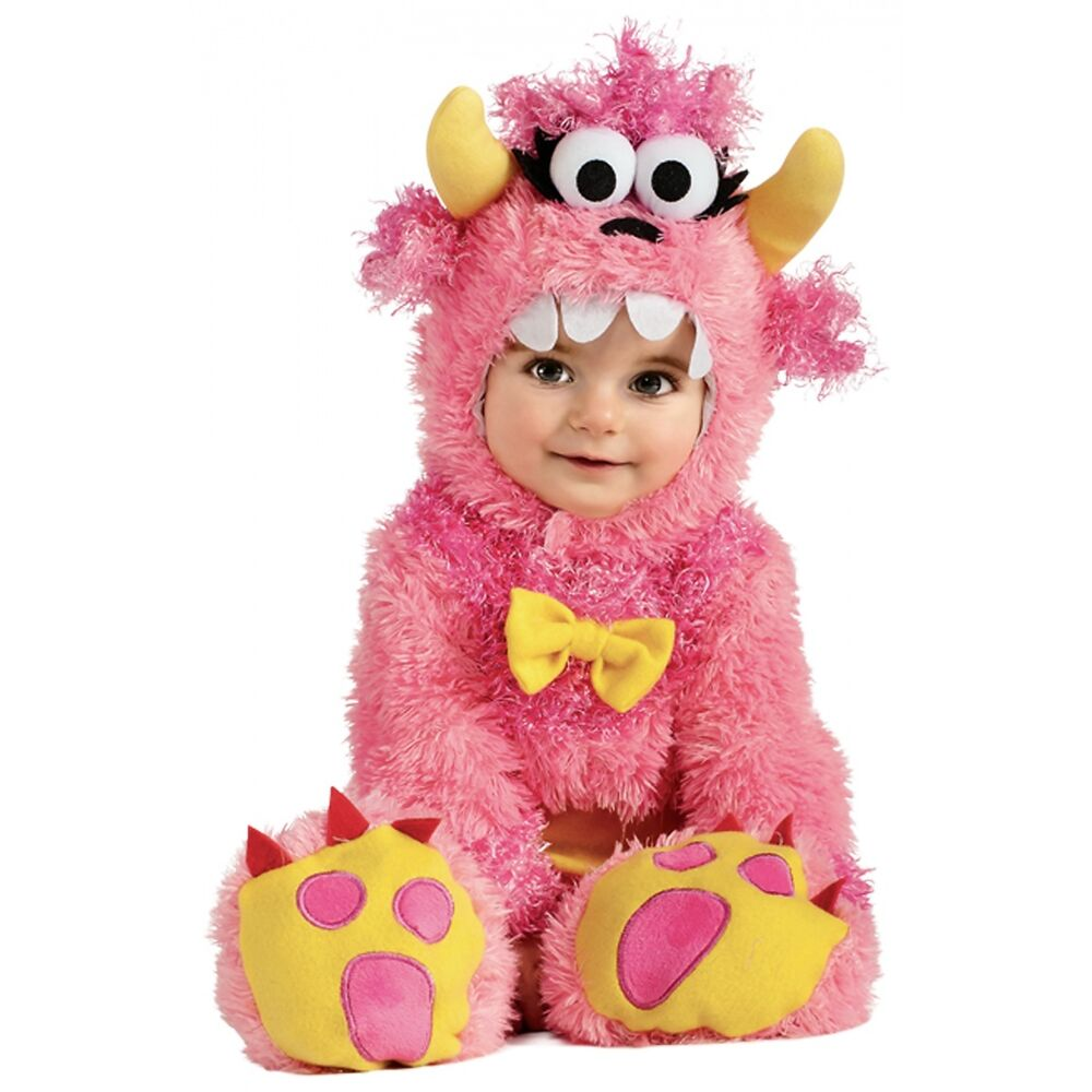 Baby Monster Costume Fuzzy Furry Pink Halloween Fancy