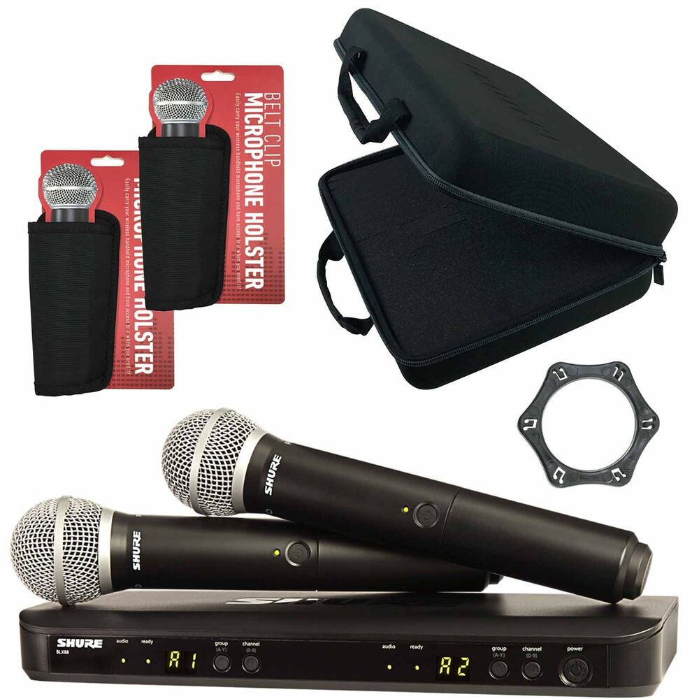 shure blx288 pg58 dual vocal handheld wireless dj microphone system case ebay. Black Bedroom Furniture Sets. Home Design Ideas