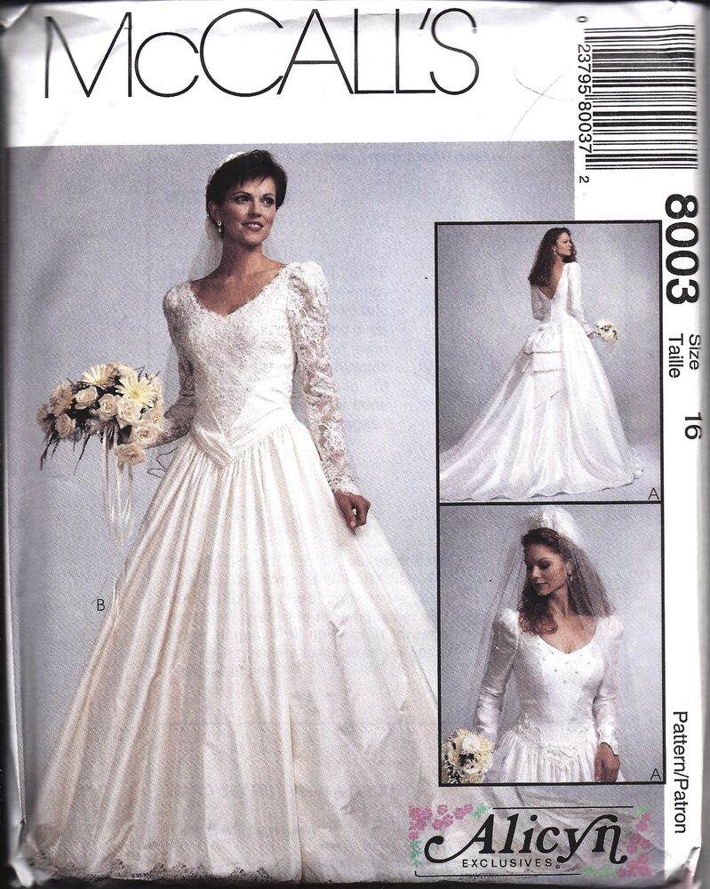 Uncut vintage mccalls sewing pattern misses wedding bridal for Wedding dress patterns vintage