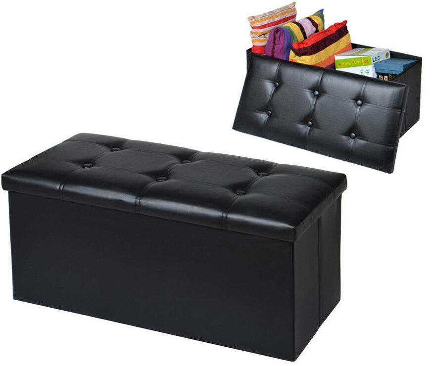 Faux Leather Storage Bench Sofa Ottoman Seat Folding Foot
