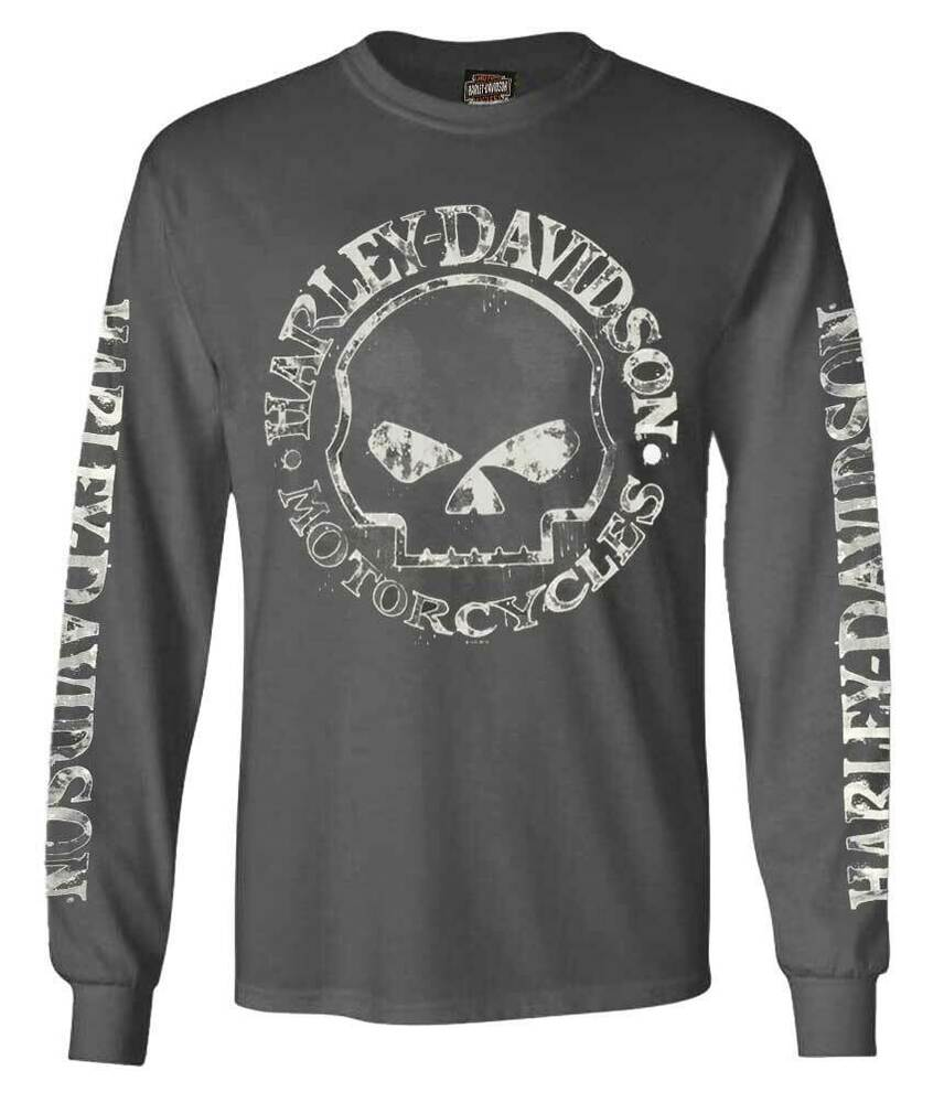 harley davidson men 39 s willie g skull long sleeve t shirt. Black Bedroom Furniture Sets. Home Design Ideas