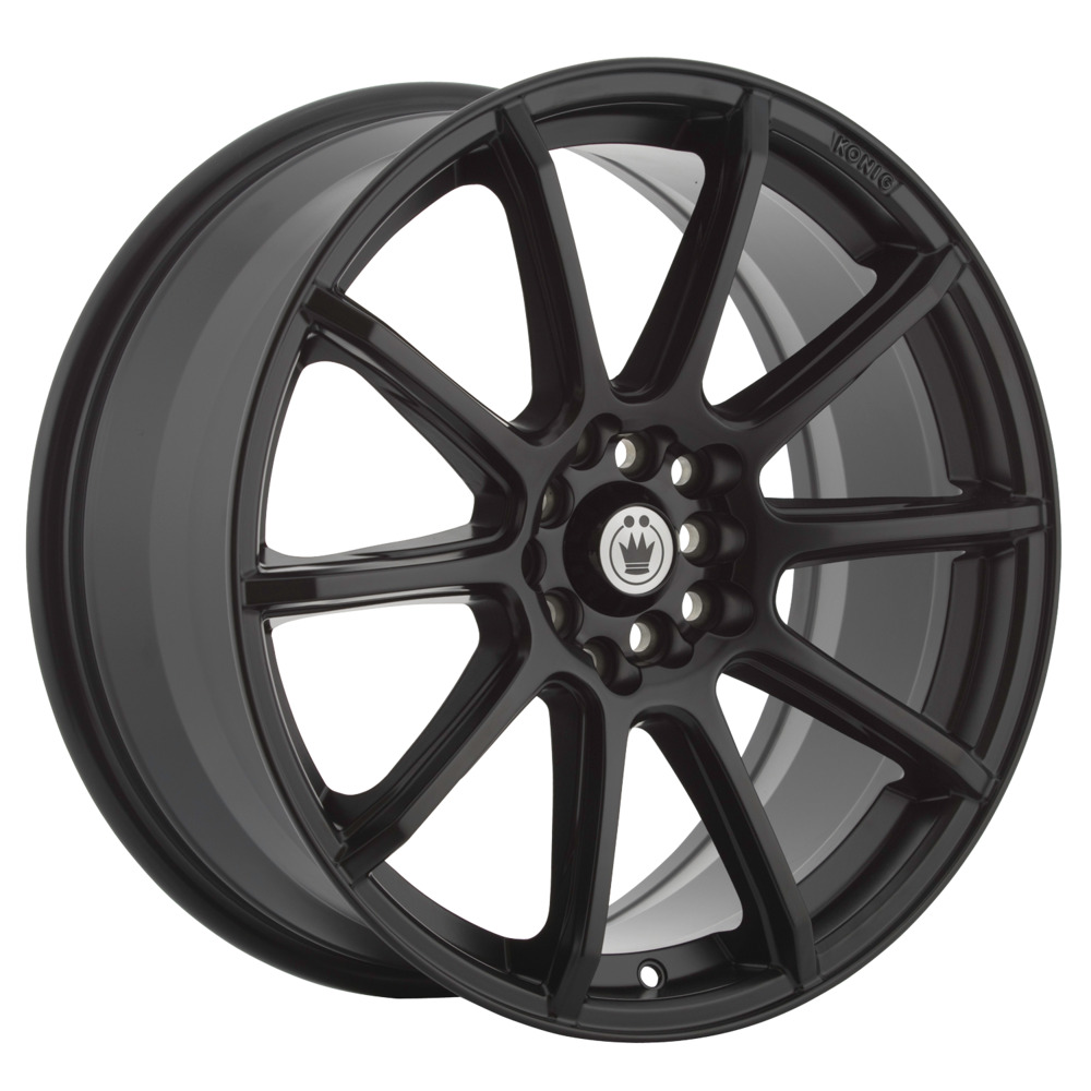 4 new 18x8 45 offset 5x100 5x114 3 konig control black wheels rims 18 inch ebay. Black Bedroom Furniture Sets. Home Design Ideas