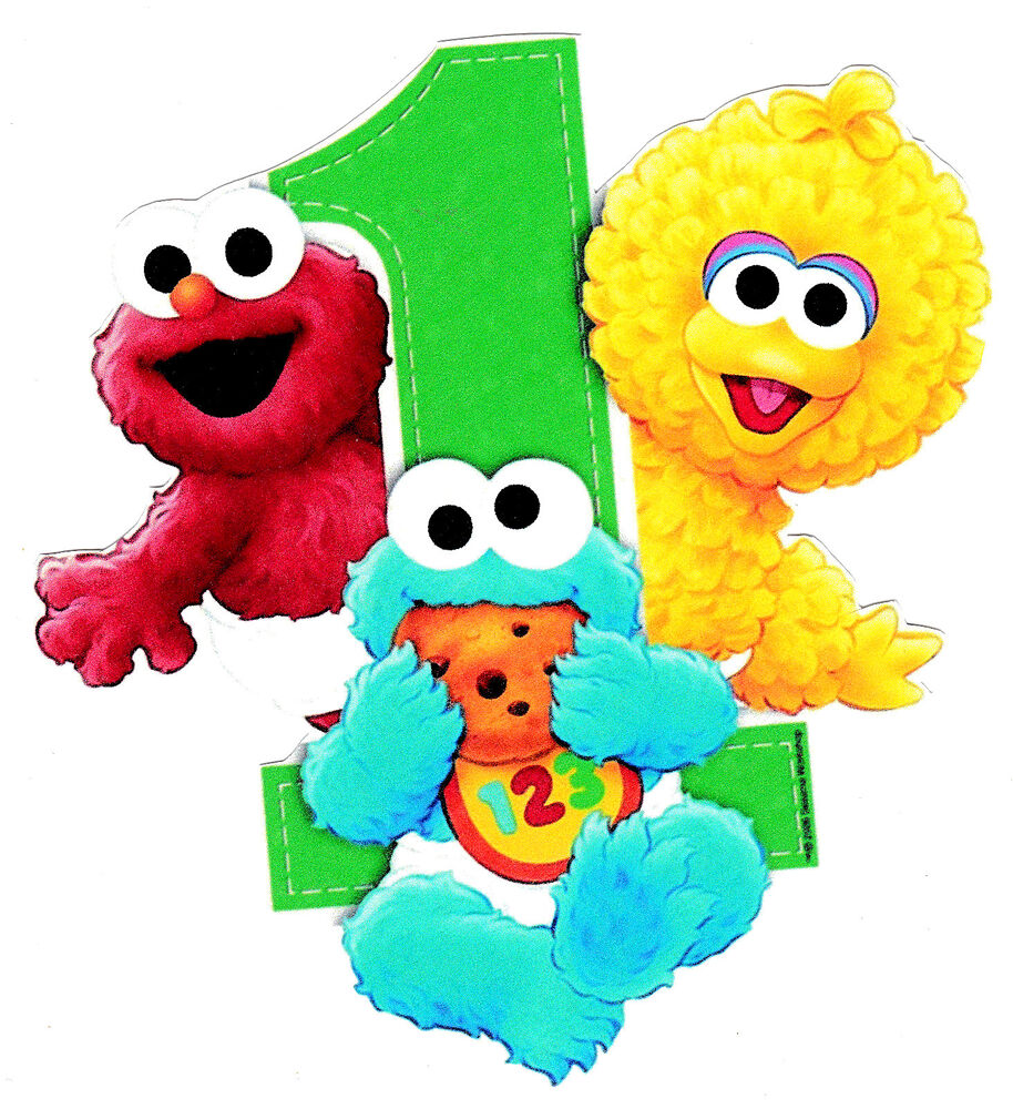 "2.5-5"" SESAME STREET BABIES FIRST 1ST BIRTHDAY CUSTOM HEAT ..."