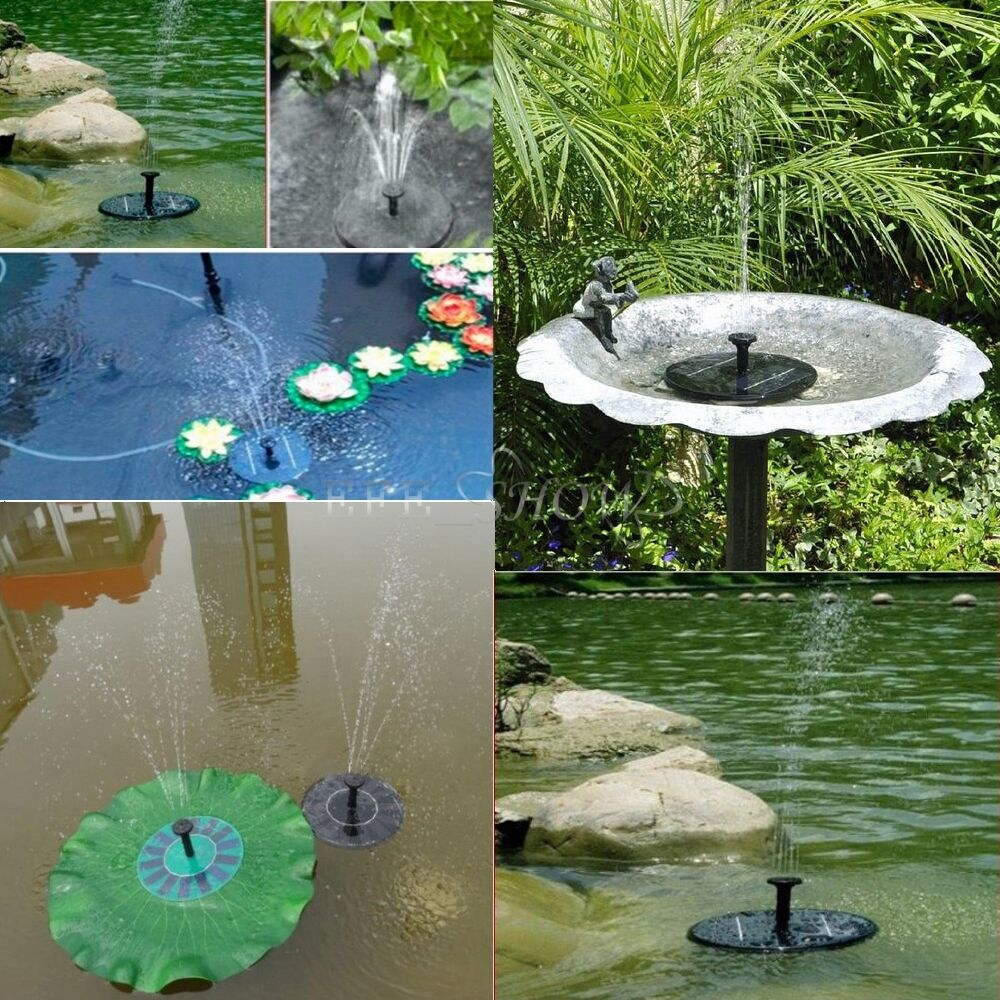 Floating solar panel power pump fountain pond watering kit for Pond water fountains