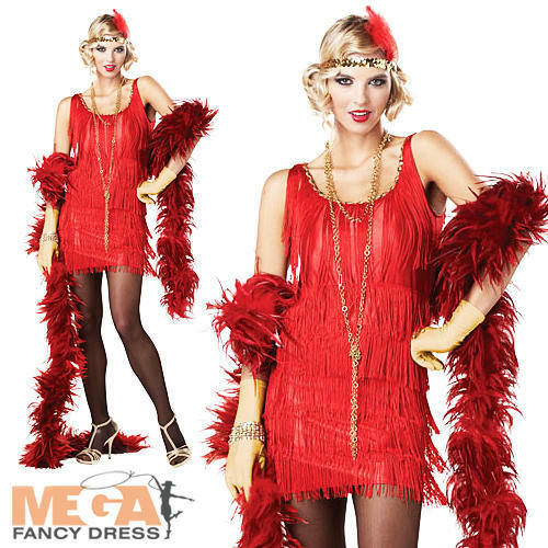 Red Fashion Flapper Ladies Fancy Dress 1920s Great Gatsby