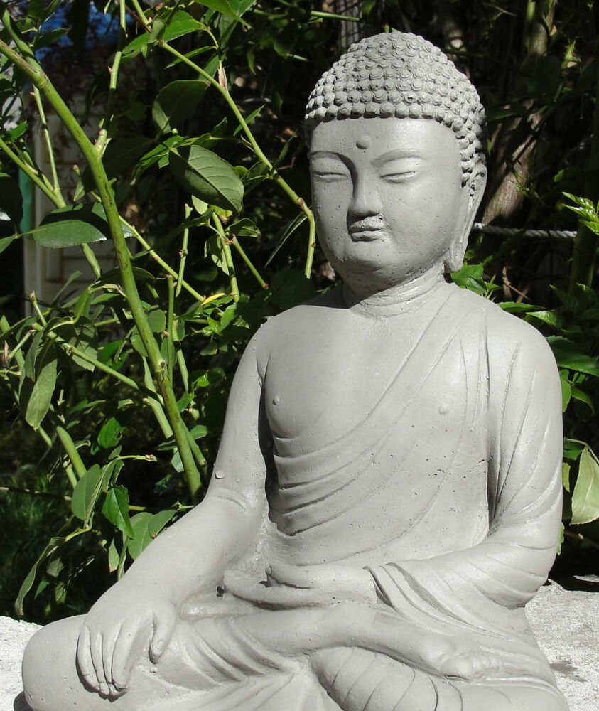 stone detailed buddha meditating gautama garden statue outdoor hotei lawn art a ebay. Black Bedroom Furniture Sets. Home Design Ideas