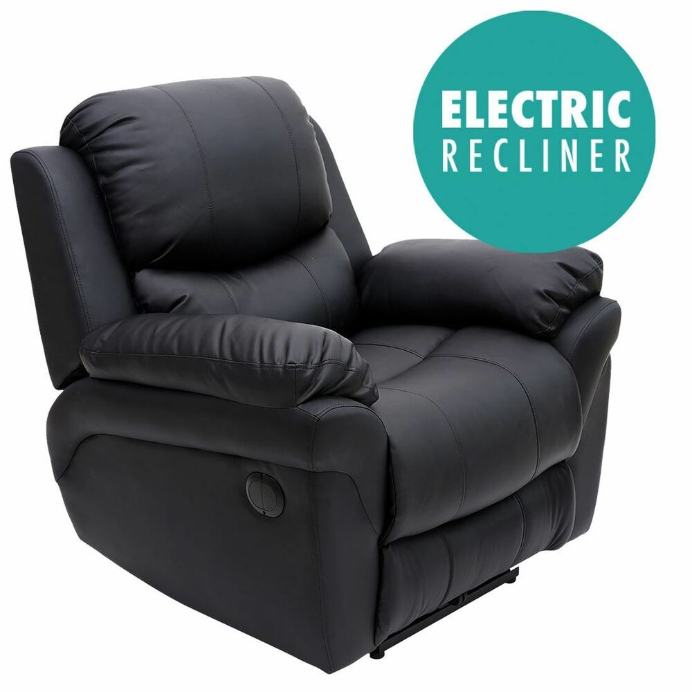 Madison Electric Black Real Leather Auto Recliner Armchair