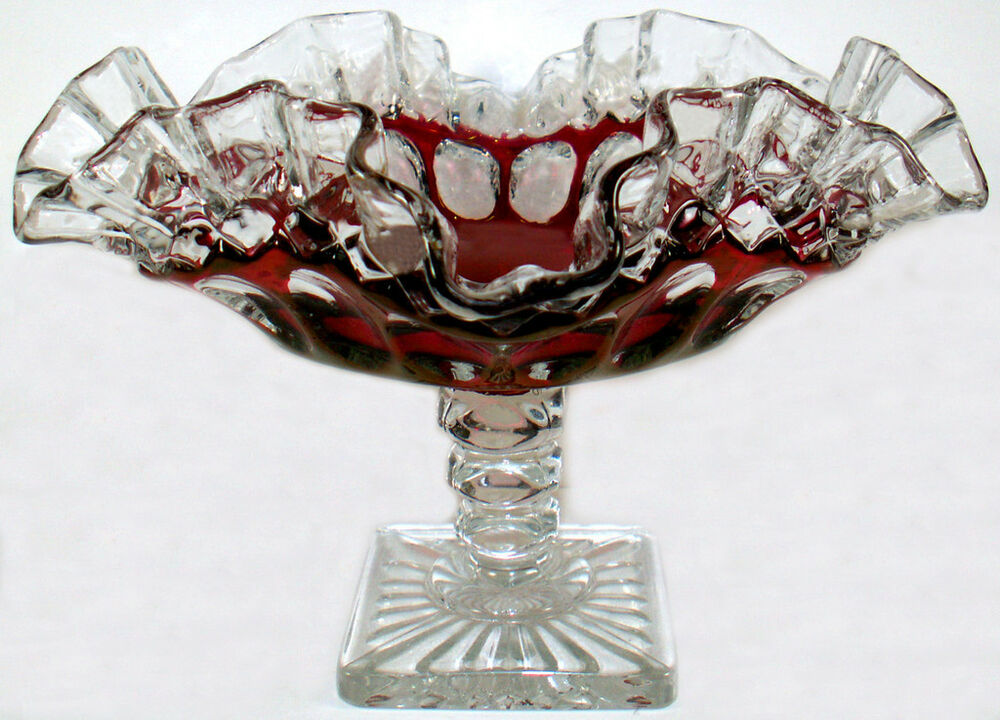 Westmoreland Glass Clear Crystal w/ Ruby Stain Waterford ...