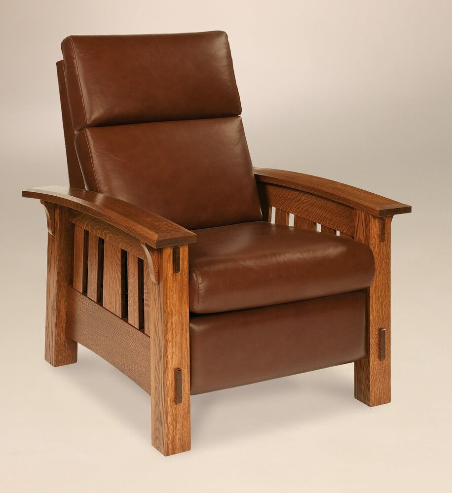 amish mission arts and crafts recliner chair mccoy solid wood leather ebay. Black Bedroom Furniture Sets. Home Design Ideas