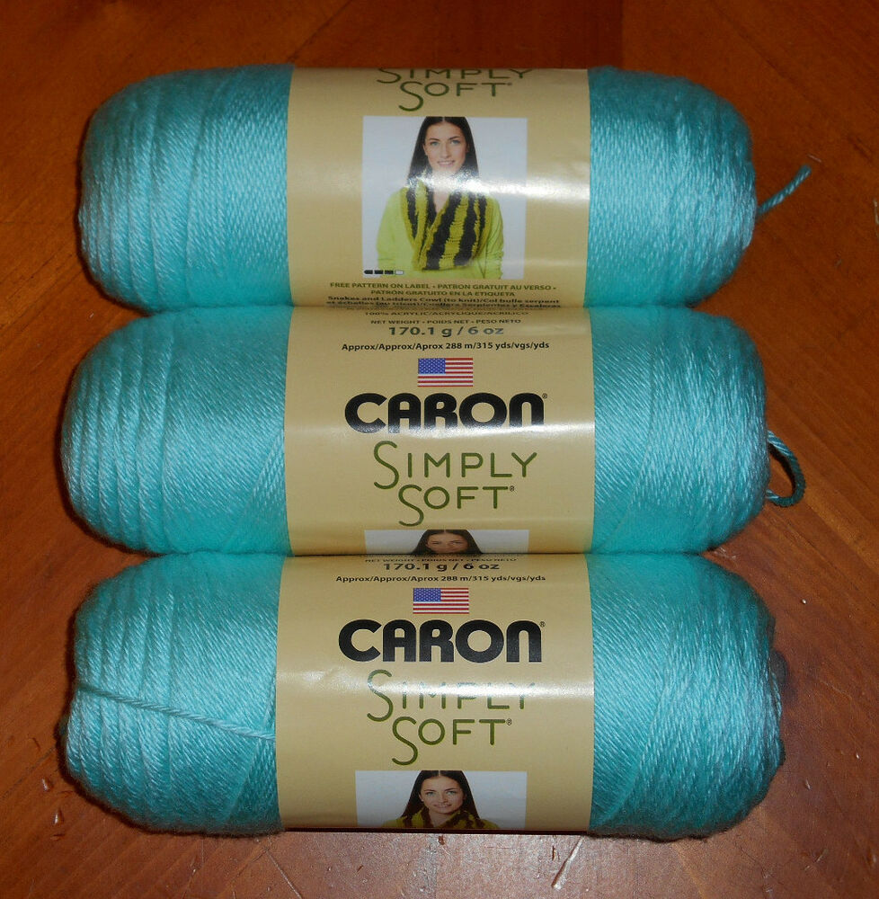 Caron Simply Soft Yarn Lot Of 3 Skeins (Robins Egg #9780 ...