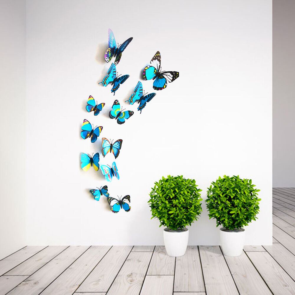 3d butterfly wall sticker art decal mural diy kids room