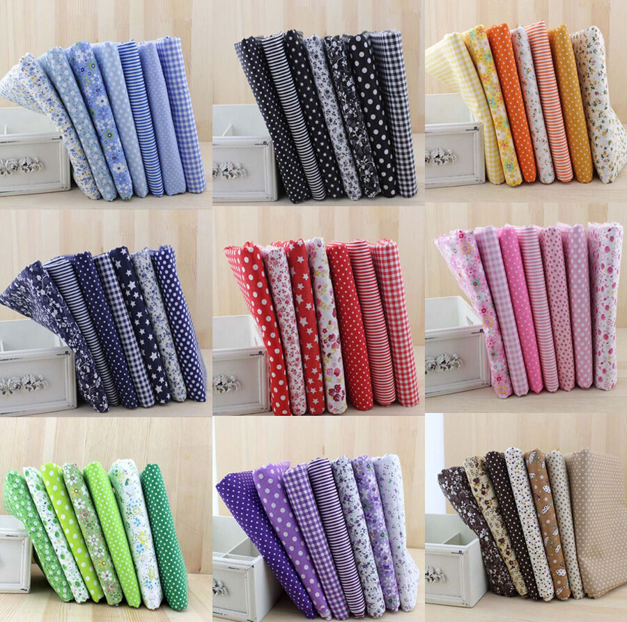 Wholesale series 7 pcs pre cut cotton quilt fabrics cloths for Sewing fabric