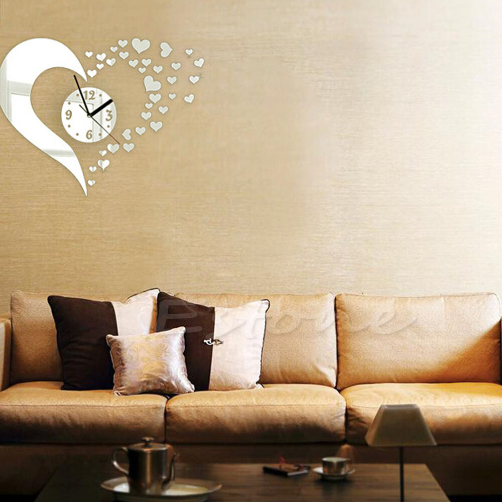 Diy 3d home modern decor wall stickers living room love for Design wall clocks for living room