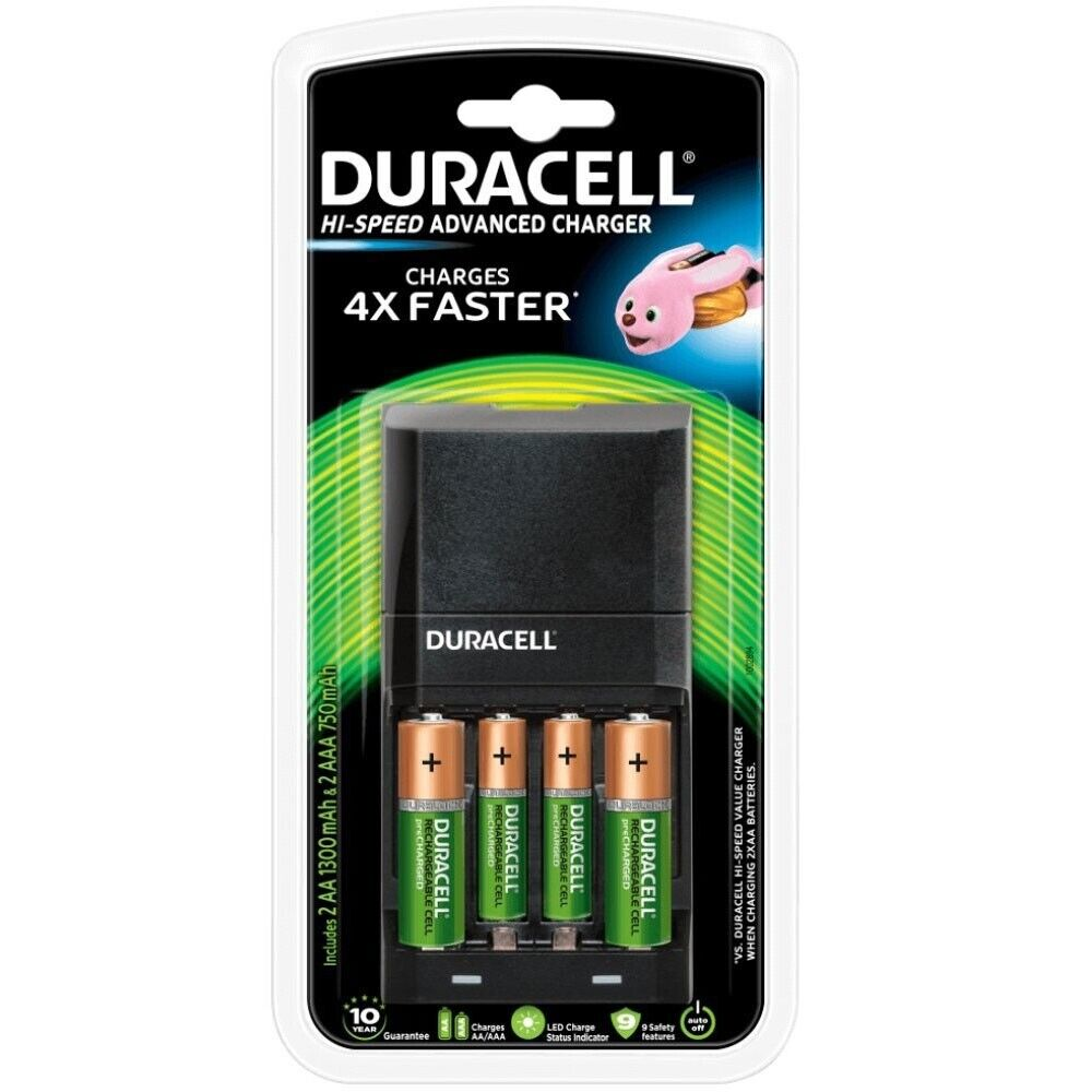 duracell 45min fast battery charger with aa and aaa ni mh. Black Bedroom Furniture Sets. Home Design Ideas