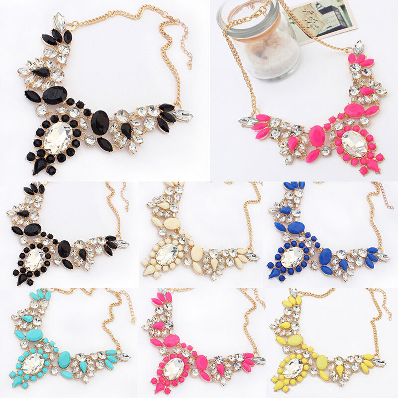 fashion jewelry geometric bling rhinestone pendant chain statement bib necklace ebay. Black Bedroom Furniture Sets. Home Design Ideas