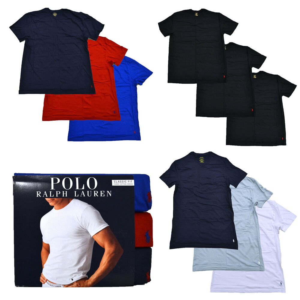 Polo ralph lauren mens 3 pack crew neck undershirts pony for Polo shirt with undershirt