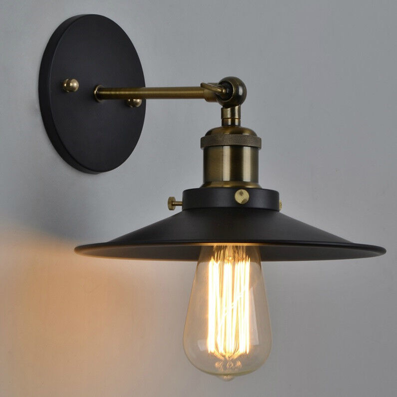 Wall Mount Lamp Shades : Retro Industrial Vintage Style Adjustable Wall Mount Lamp Light 23CM Metal Shade eBay