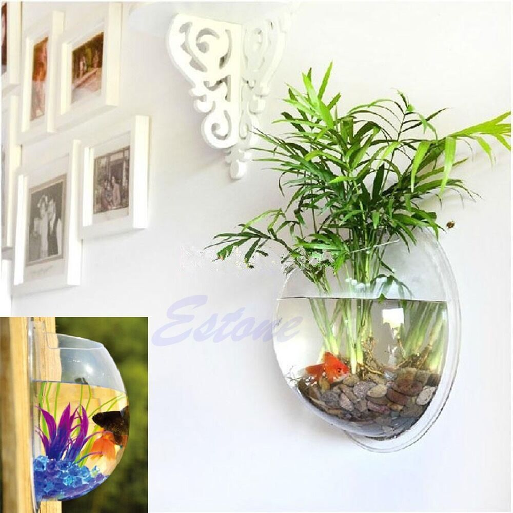 Pot Wall Hanging Mount Bubble Aquarium Bowl Fish Tank