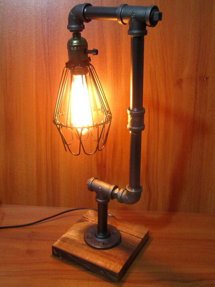 Iron Pipe Table Desk Lamp Light Retro Industrial Style