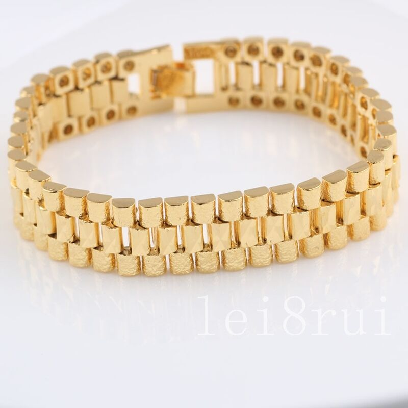 solid 24k 24ct yellow gold filled womens mens bracelet
