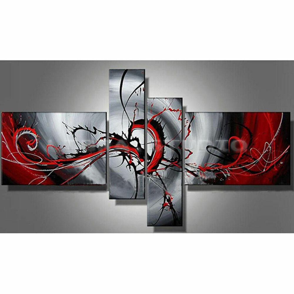 Red Wall Decor Art : Hand painted oil painting modern abstract black and red