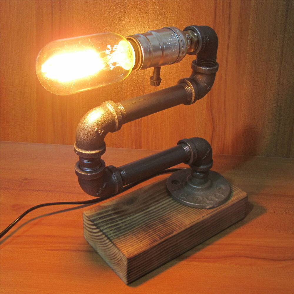 Pipe Lamp Industrial Lamp Urban Pipe Lamp By: Iron Pipe Adjustable Bedside Table Desk Lamp Light Retro