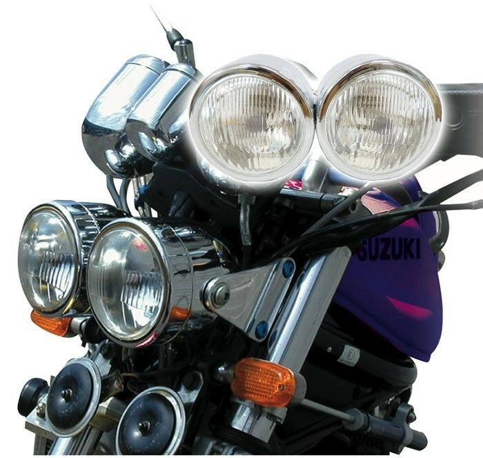Dual Headlight Cafe Racer : Chrome twin dominator motorcycle headlight dual round