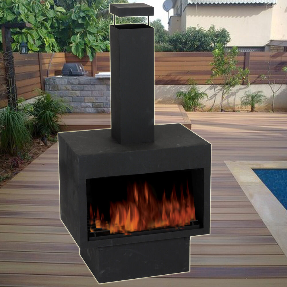 Garden Outdoor Ambient Chiminea Black Metal Fireplace Patio Wood Log Stove Fire Ebay