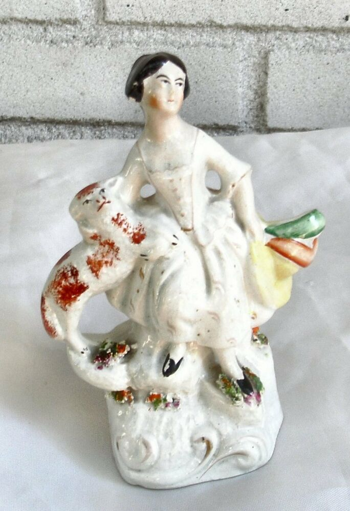 Beautiful Antique Century Furniture Dining Room Table And: Beautiful Antique Staffordshire Figure Lady W/Arm Around