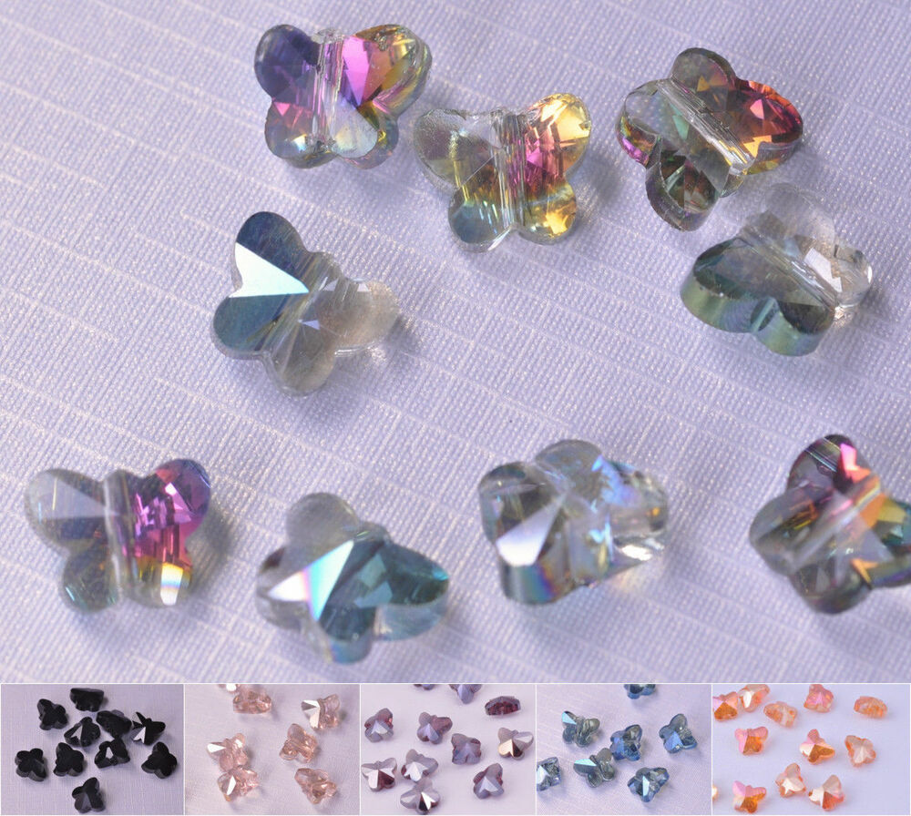 New 10 20pcs glass crystal butterfly beads loose spacer for Crafts that sell on ebay