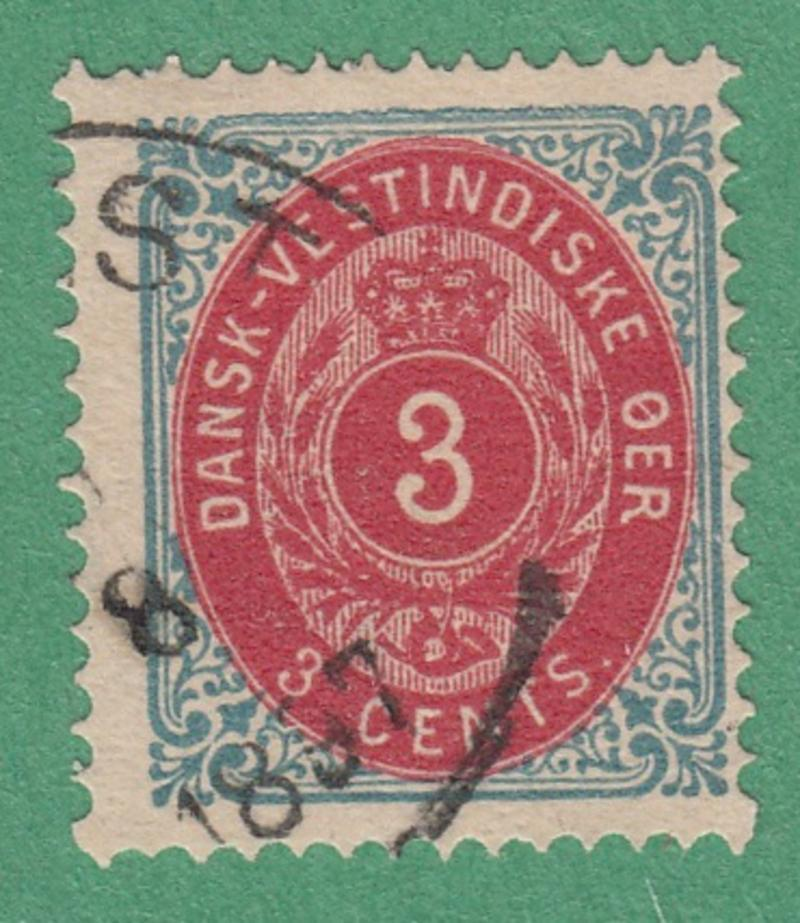 Danish West Indies #6e Used 3c Inverted Frame Thick Paper