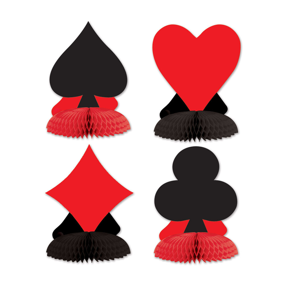 card suit centrepieces casino table decoration playing card suit decorations ebay. Black Bedroom Furniture Sets. Home Design Ideas