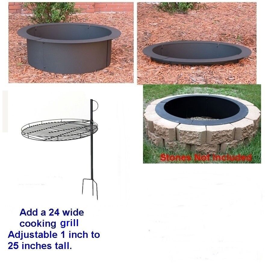 4 pc diy outdoor round replacement steel fire pit ring rim. Black Bedroom Furniture Sets. Home Design Ideas