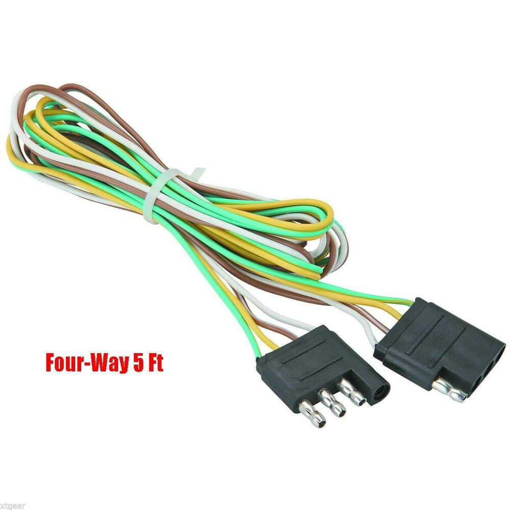 5 U0026 39  Trailer Light Wire Harness 4 Way Wire Flat Connector Trailer Light Extension
