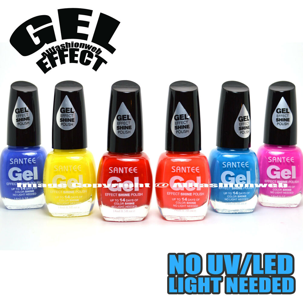 Santee 6 Gel Effect Shine Nail Polish No Uv Led Light