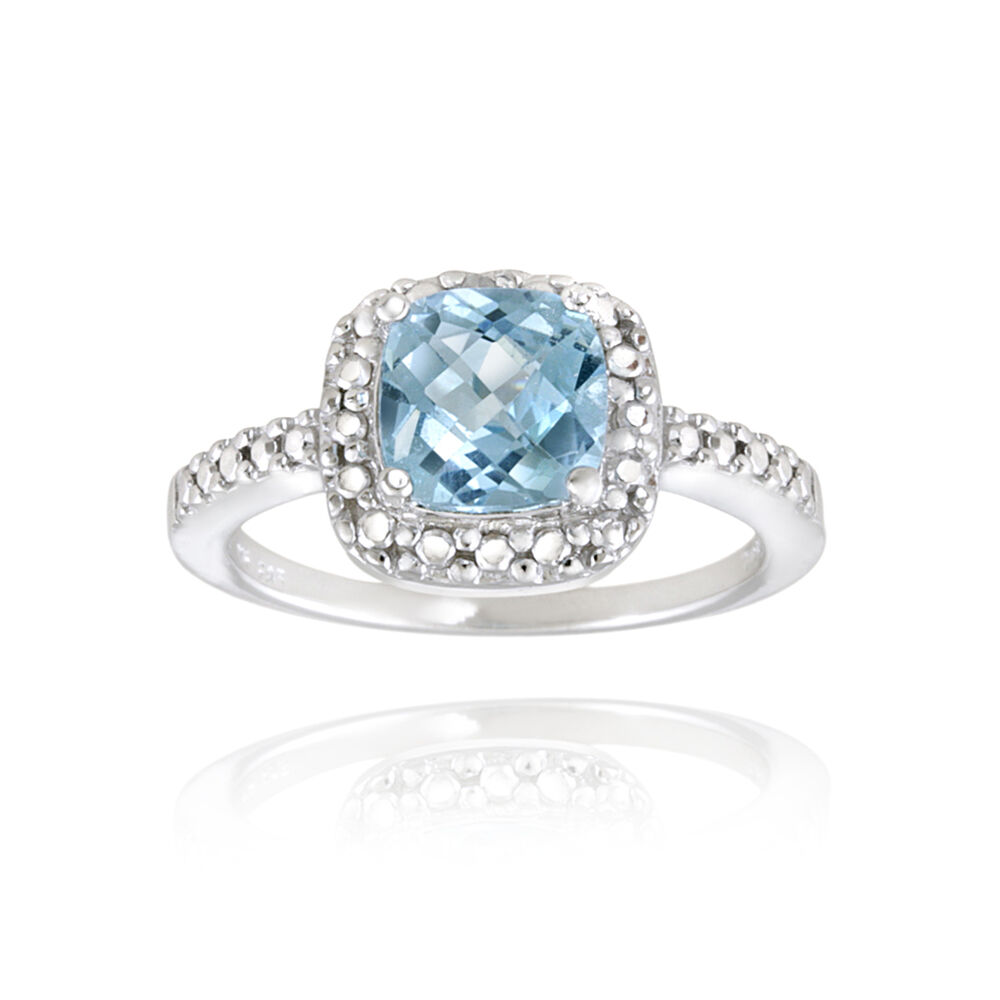 Square Cut Blue Topaz And Diamond Ring